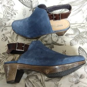 NAOT | Blue Suede Ankle Strap Mules